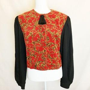 Donna Morgan   Red Velvet Black Sleeve Tassel Top